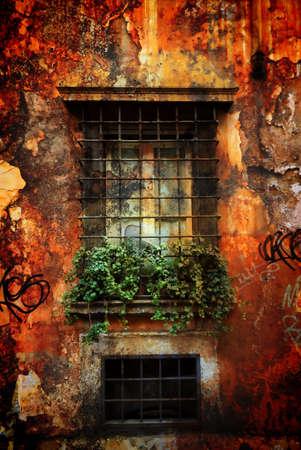 Old Italian windowsill, Italy.  Stock Photo