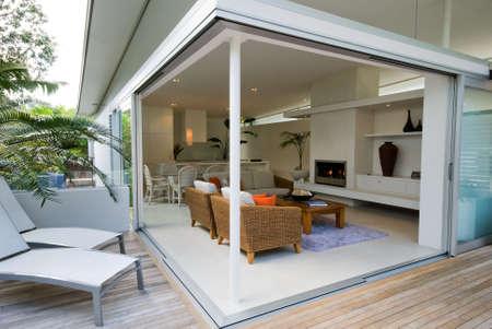 outdoor restaurant: Modern, designer residential home Stock Photo