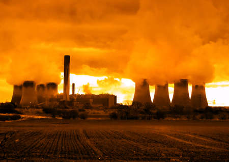 gaseous: Nuclear power plants sending smoke into the atmosphere