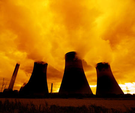 Nuclear power plants sending smoke into the atmosphere