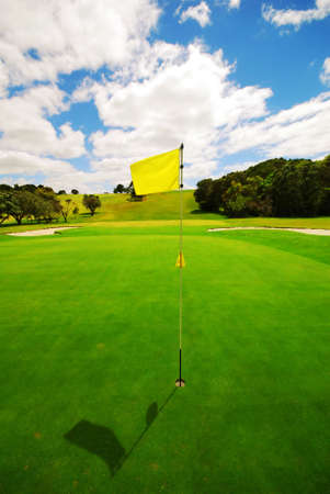 Beautiful golf green on a lovely course Stock Photo