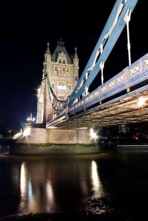 Tower Bridge, London at night time.  photo