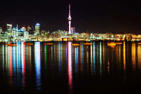 The beautiful Auckland skyline by night photo