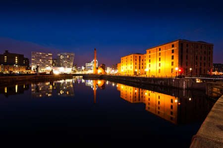 Liverpool Albert dock with view of Maritime Museum and one park west building