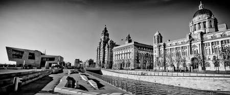 A black and white image over the Liverpool Liver building, one of the most important  city�s symbols. photo
