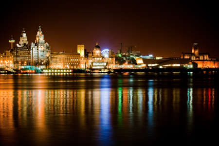 liverpool: Night time Liverpool city reflections in to the Merseyside River