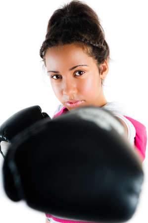 jab: Young beautiful mixed race boxing teenager, punch and jab with expression - isolated on white Stock Photo