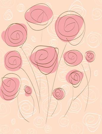 pinkish: pink roses Illustration