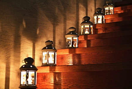 candleholder: Lanterns on a Staircase with stars on the wall