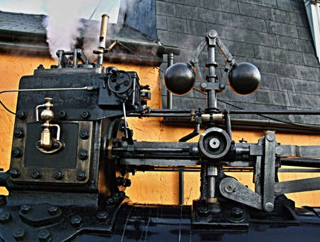 compression: Part of steam engine of old traktor Stock Photo