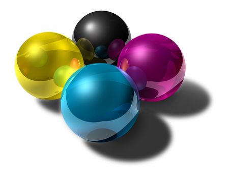color choice: Reflective balls of cmyk colors