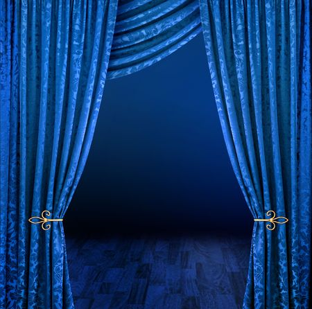 curtain theatre: Blue curtains framing mysterious dark stage scene Stock Photo