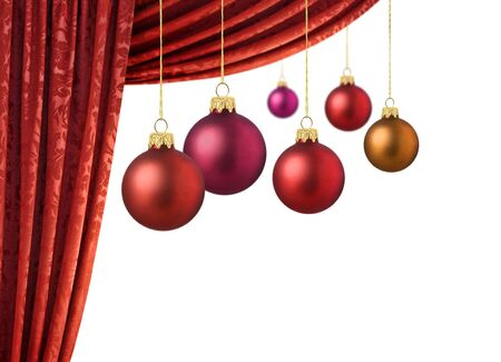 christmas tree purple: Matte red christmas balls with vivid red curtains and white background Stock Photo
