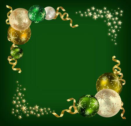 Fondo de sensación de Navidad con bolas verdes, plata y oro, rodeado de oro de cintas y estrellas  Foto de archivo