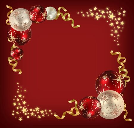 season: Christmas feeling background with red and ivory balls, golden ribbons and stars