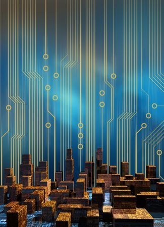 computer science: Skyline of a city made of circuit board structure skyscrapers, with a cirucit board graphics background Stock Photo