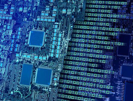 빠른 이진 데이터 출력 및 번호 분해를 만드는 다중 프로세서가있는 컴퓨터 회로 보드 스톡 콘텐츠