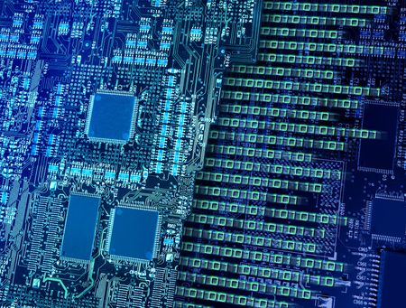 Computer circuit board with multiple processors making fast binary data output and number breaking Stock Photo - 5545966