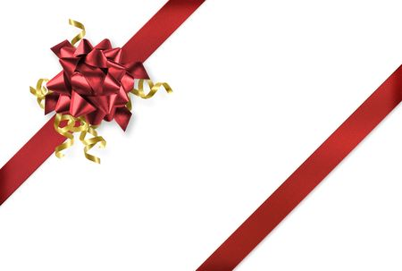 Diagonal red and gold gift wrap ribbon on white background Stock Photo - 5545944