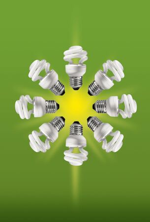 Eight energy saving compact fluorescent eco lamps formin a star on green background photo