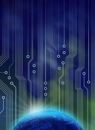 zelektryzować: Åšwit nowej technologii przeciwko aurora borealis na niebieski obwodami nieba Zdjęcie Seryjne