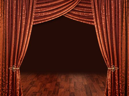 drapes: Red theatre stage curtains brown wooden floor and dark background