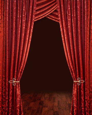 cortinas rojas: Red de teatro tel�n piso de madera de color marr�n y fondo oscuro