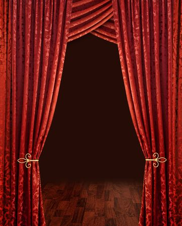 red curtains: Red theatre stage curtains brown wooden floor and dark background