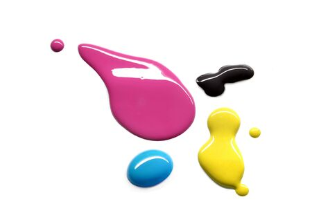 picker: Drops of printing inks cyan magenta yellow black