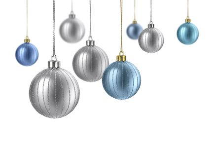 штейн: Silver and blue matte christmas decoration balls hanging on white background