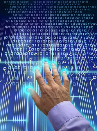 access granted: Male hand over electronic circuit and touchpad, identification data processing into binary code