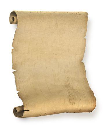 Old ragged manuscript paper or parchment document roll Stock Photo - 6702328