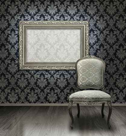plated: Classic antique chair and silver plated frame in room with damask pattern wall Stock Photo