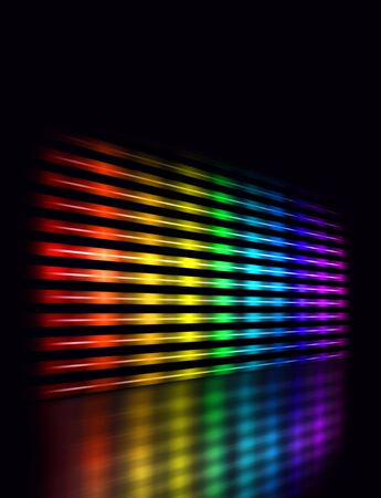 Perspective graphic equalizer display showing moving color light bars on black background photo