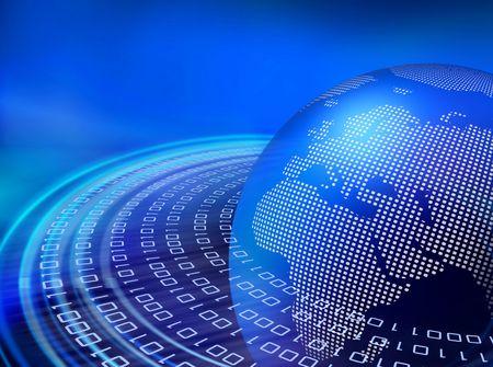Binaire gegevens bitstream versnellen rond de digitale earth globe