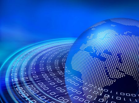 network security: Binary data bitstream speeding around the digital earth globe Stock Photo