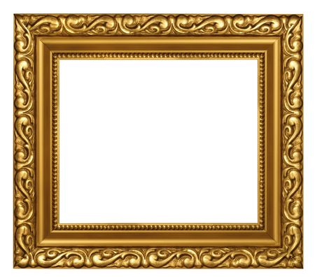 framing: Decorated classic style gold plated frame empty