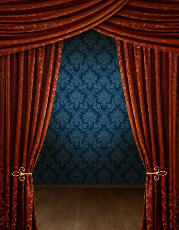 cortinas: Sala de exposici�n de gran apertura con la pared del patr�n de Damasco azul retro