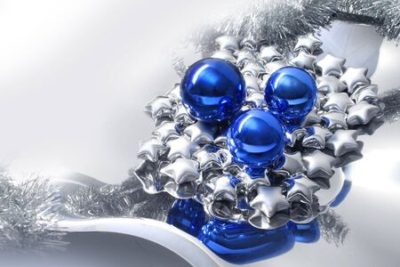Modern Christmas style fantasy decoration setup with blue balls and silver stars photo