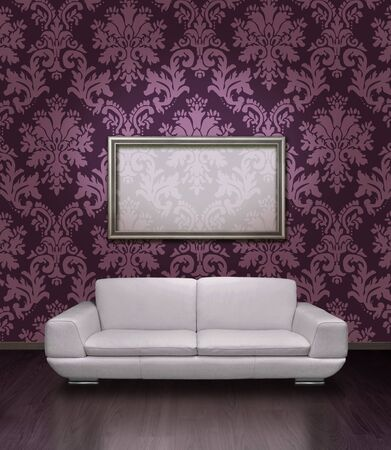 Modern white leather sofa and silver plated frame in room with dark lilac damask pattern wall photo