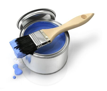 Home improvement paint brush and opened can of blue paint Stock Photo