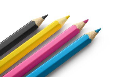 disegni a matita: Matite in legno isolati su sfondo bianco di colore CMYK