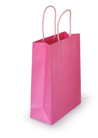 Pink paper bag ready for shopping, isolated on white background Stock Photo - 6702315