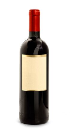 semisweet: Red wine bottle with blank label and red top Stock Photo