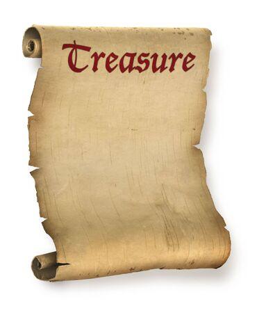 Antiguo tesoro andrajoso mapa o pergamino documento roll