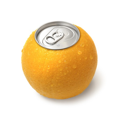Fresh orange juice canned concept image on white background isolated photo
