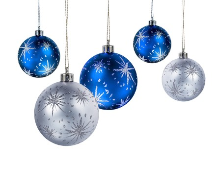 group of christmas baubles: Blue and silver Christmas balls hanging isolated on white background