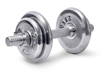 chromed: Chromed fitness exercise equipment dumbbell weight Stock Photo