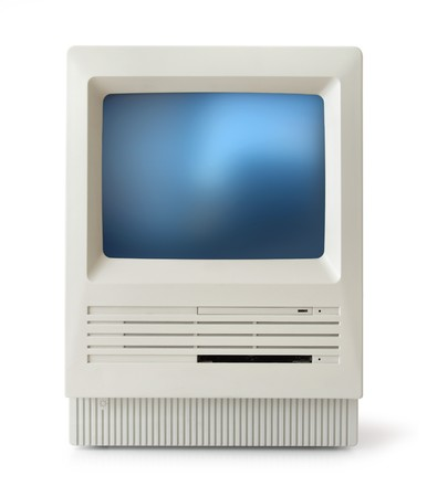 eighties: Original classic computer of eighties, front, isolated on white