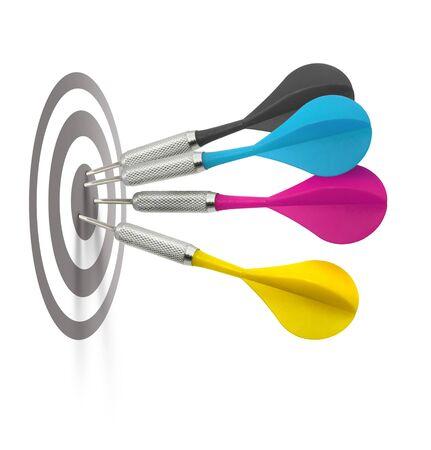 cyan: Foud cmyk color darts hitting target center, use vertical or horizontal Stock Photo